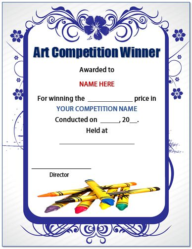 13 Admirable Drawing Competition Certificates Templates Formats