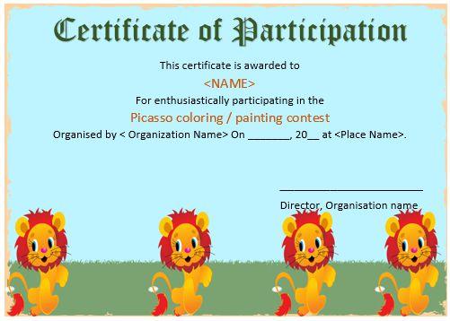 Art Competition Participation Certificate