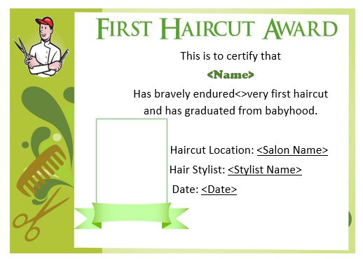 Baby Boy'S First Haircut Certificate