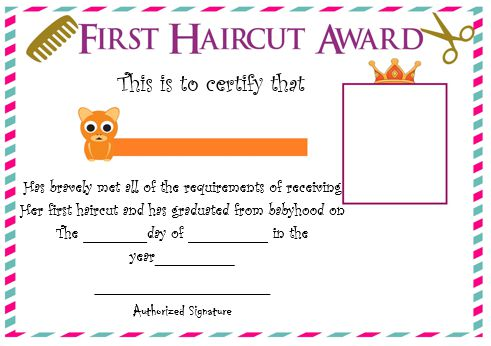 Baby Boy S First Haircut Certificate 2