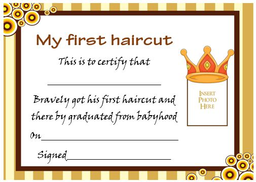 20 free baby 39 s first haircut certificate templates for My first haircut certificate template