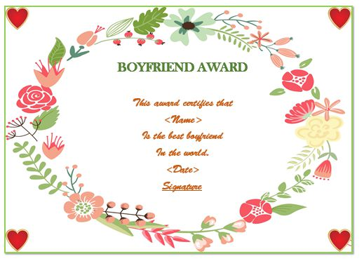 Best Boyfriend Award Certificate Templates