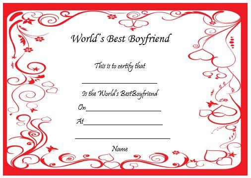 Best Boyfriend Certificate Online