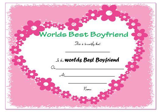 Best Boyfriend Certificate Template