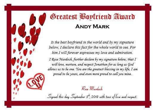 Best Boyfriend Ever Certificate