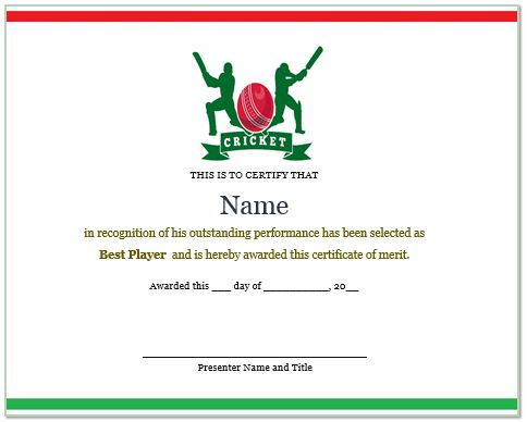 Best Cricket Player Certificate