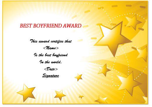 Boyfriend Award Certificate
