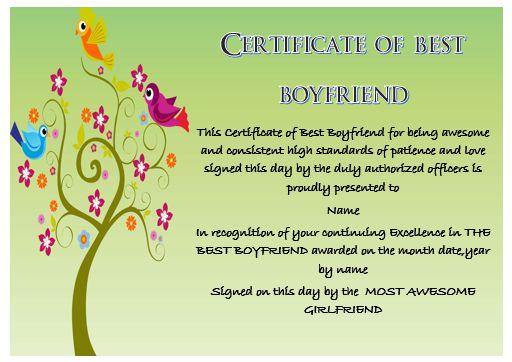 Boyfriend Certificate