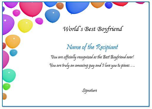Boyfriend Certificate Online