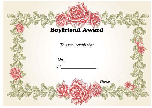 Boyfriend Certificate Template Free