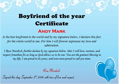 Boyfriend Of The Year Certificate
