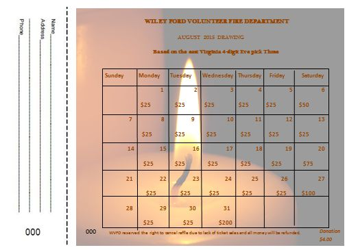 calendar raffle template