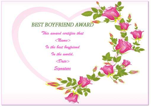Certificate Best Boyfriend Forever