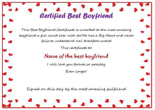 Certificate For Boyfriend
