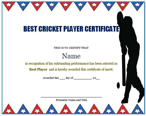 Certificate For Cricket Players