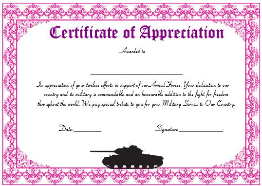 20 Professional Army Certificate of Appreciation Templates – Certificate of Appreciation Wording Examples