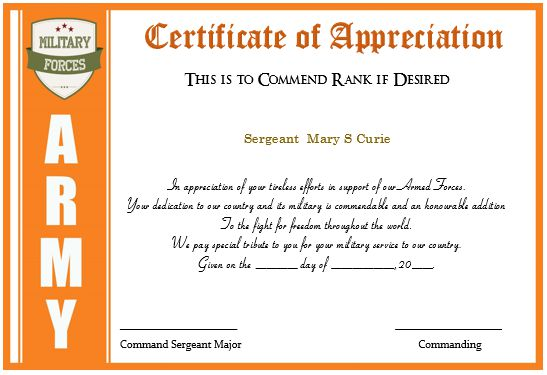 Army certificate of appreciation template 20 professional army certificate of appreciation yelopaper Choice Image