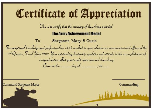 20 professional army certificate of appreciation templates 20 professional army certificate of appreciation templates wording samples demplates yadclub Image collections