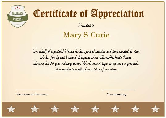 20+ Professional Army Certificate of Appreciation Templates ...