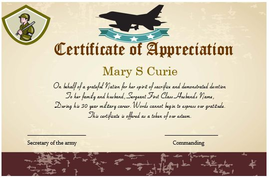 Certificate Of Appreciation For Army Spouse 2
