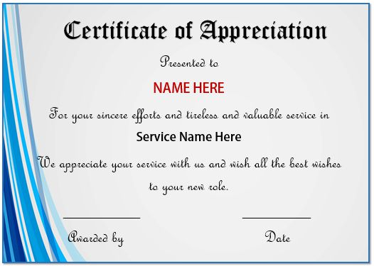 20 free certificates of appreciation for employees for Service anniversary certificate templates