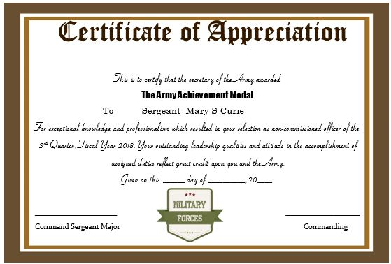 Certificate Of Appreciation For Military