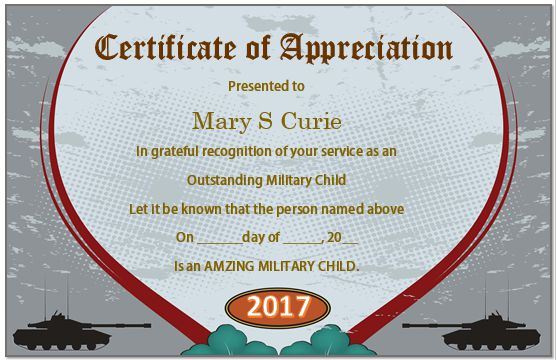 Certificate Of Appreciation For Military Child
