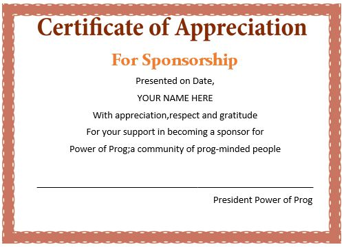 Certificate Of Appreciation For Sponsors Wording
