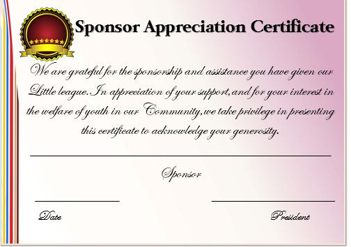 12 elegant certificates of appreciation for sponsorship free word