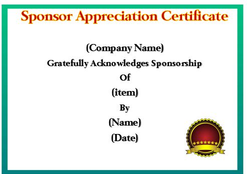 Certificate Of Appreciation For Sponsorship Template