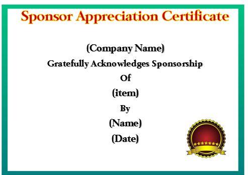 12 Elegant Certificates Of Appreciation For Sponsorship : Free