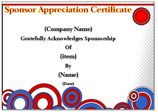 Certificate Of Appreciation Of Sponsorship