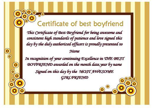 Certificate Of Best Boyfriend