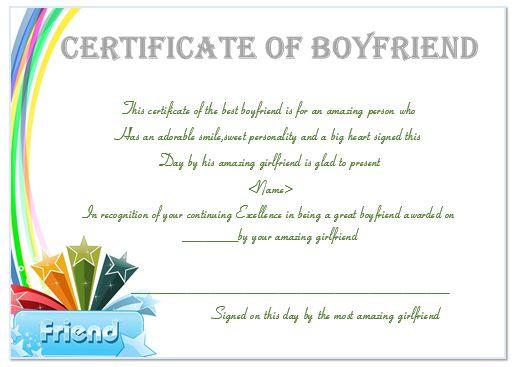 Certificate Of Boyfriend