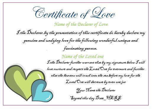 Certificate Of Love