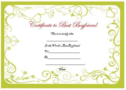 Certificate To Best Boyfriend
