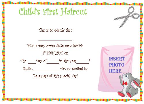 Child'S First Haircut Certificate 3