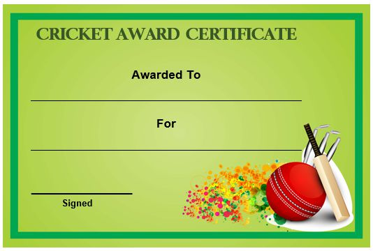Cricket Award Certificate Template