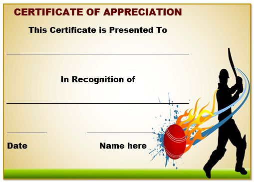 Cricket Certificate Of Appreciation