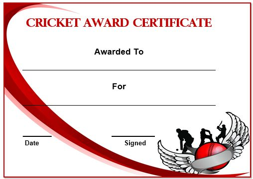 Cricket Certificate Template
