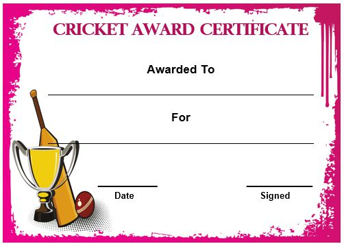 Cricket Certificate Template Word