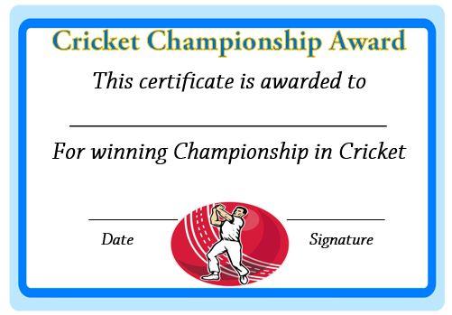 Cricket Champions Certificate