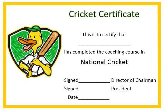 Cricket Coaching Short Course Certificate