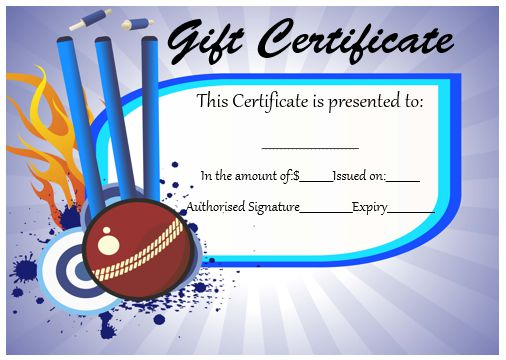 Cricket Gift Certificate Template