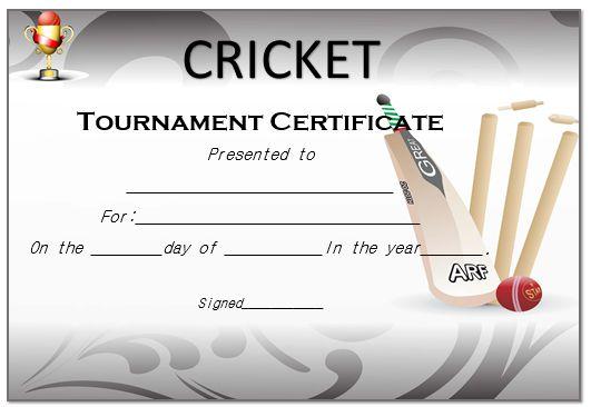 Cricket Tournament Certificate
