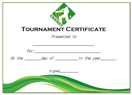 Cricket Tournament Certificate Format