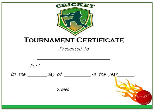 Cricket Tournament Certificate Template