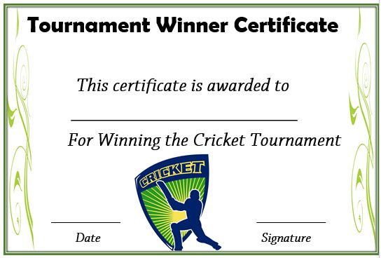 Cricket Tournament Winner Certificate Format