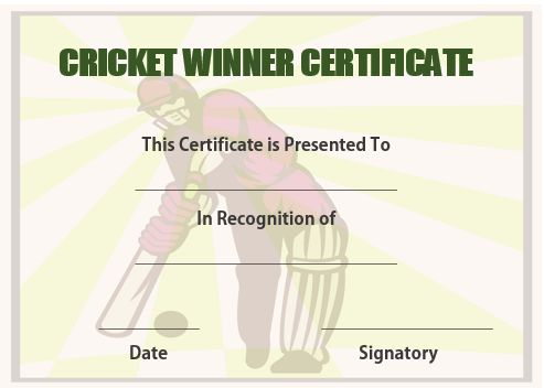 Cricket Winner Certificate Template