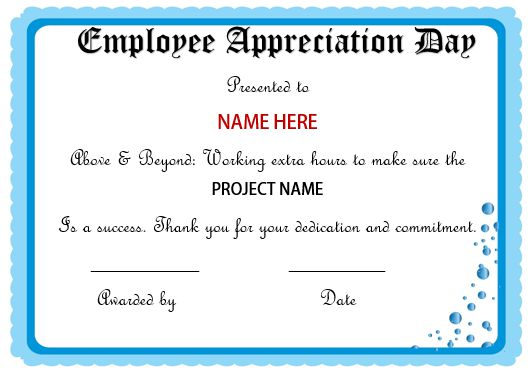 Employee Appreciation Day Certificate